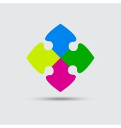 Puzzle Four Color Piece Sign Icon Symbol vector image
