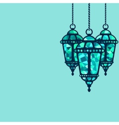 Ramadan lantern background vector