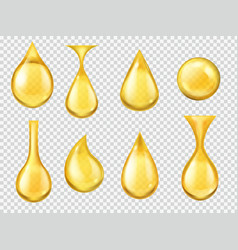 realistic oil drops falling honey drop gasoline vector image
