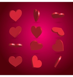 rotated hearts set vector image
