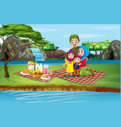 Scene with family picnicing in park vector