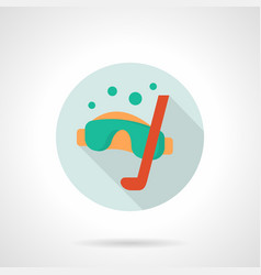scuba diver mask flat round icon vector image