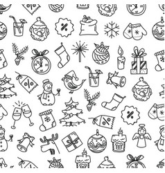 seamless pattern card with holiday objects doodle vector image