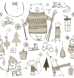 seamless pattern with cute winter elements vector image