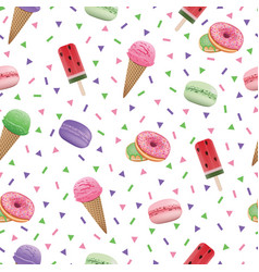 Seamless pattern with donut ice cream and vector