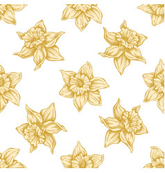 seamless pattern with hand drawn pastel daffodil vector image