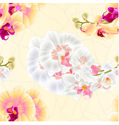 Seamless texture stem orchids yellow and white vector