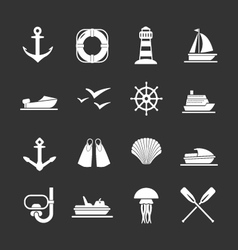 set icons sea beach and travel vector image