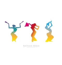 Silhouette girls balinese dance vector