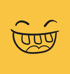simple smile with tongue icon hand drawn face vector image