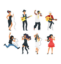 singer with microphone and musician vector image