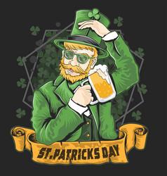 St patricks day green shamrock beer party vector