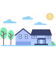 Suburban home on a sunny day for family with yard vector