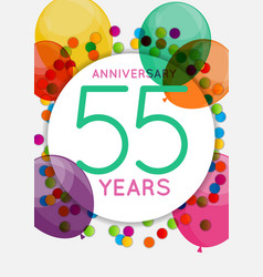 template 55 years anniversary congratulations vector image
