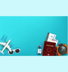 Travel with different staff passport digital vector