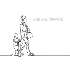 Trendy continuous line black and white drawing in vector