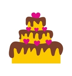 Valentine Day cake flat icon vector