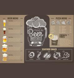 Vintage beer menu design on cardboard vector