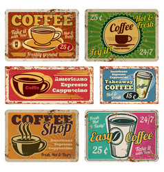 Vintage coffee shop and cafe metal signs in vector