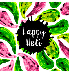 watercolor holi splatter background vector image