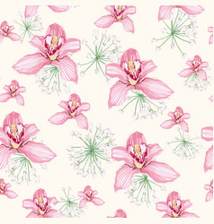 watercolor style white herbs and pink orchid vector image