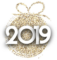 white 2019 new year card with gold christmas ball vector image