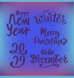 winter set on gradient background vector image