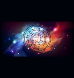 witchcraft astrology wheel with zodiac signs vector image