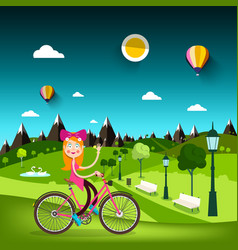 woman on bicycle with meadow on background pretty vector image