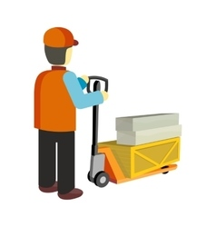 Worker with Cargo Cart vector image