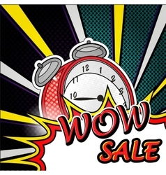 Wow sale pop art explosion over dotted background vector