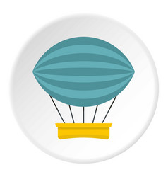 Yellow and red hot air balloon icon circle vector