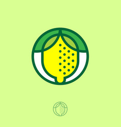 yellow lemon icon emblem organic product vector image