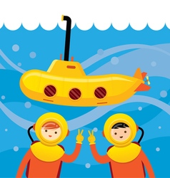 Yellow Submarine with Kids Diving vector