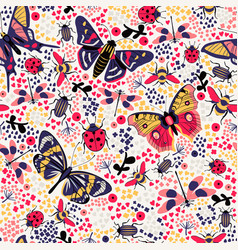 flower butterfly and bug seamless pattern vector image