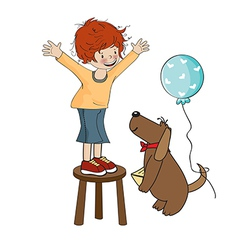 Funny boy celebrates his birthday with dog vector image