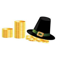 Leprechaun hat and coins vector image vector image