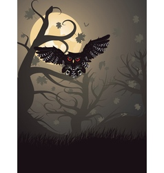 Owl in the Night Forest vector image