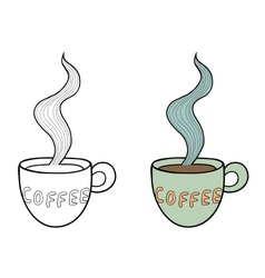 Set of two doodle coffee cups outline and subdued vector image