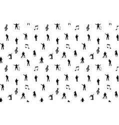 black and white music seamless background vector image vector image