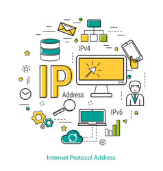 ip address - line concept vector image