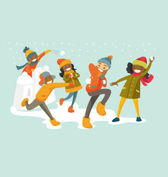 Multicultural family playing snowball fight vector