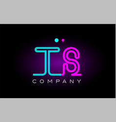 neon lights alphabet ts t s letter logo icon vector image
