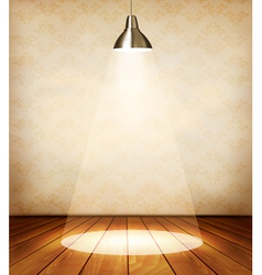 Old room with wooden floor and a spotlight vector image
