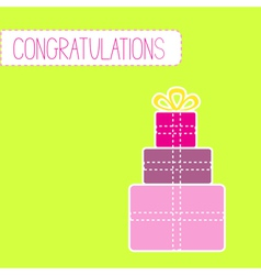 Congratulations card with gift boxes green vector image vector image
