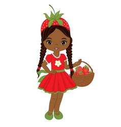 Cute little african american girl vector