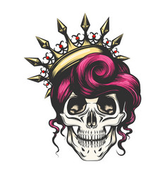 female skull in crown vector image