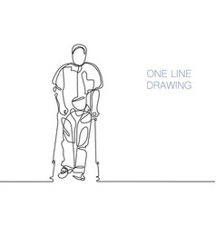 Man walking with help of crutches vector