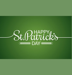 patrick day line vintage lettering background vector image