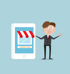 businessman standing with online store on vector image